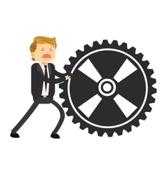 Happy businessman pushing gear icon vector