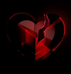 broken heart-crystal with black veil vector image vector image