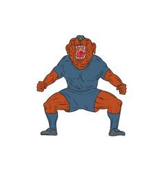 Bulldog footballer celebrating goal cartoon vector