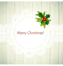 christmas lace frame with green fir vector image vector image