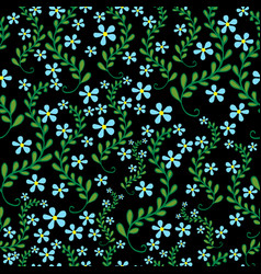 field wild flowers seamless floral pattern vector image