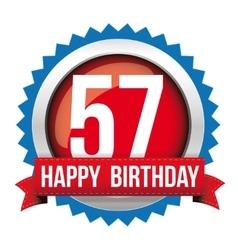 Fifty seven years happy birthday badge ribbon vector