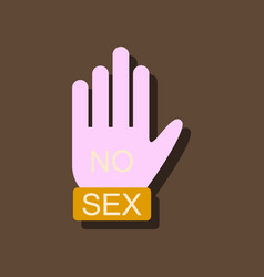 Flat icon design no sex hand sign in sticker style vector