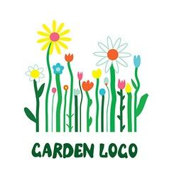 Garden logo with flowers - unusual simple design vector image vector image