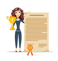 happy young woman winner vector image