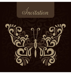 Invitation with stylized butterfly vector image