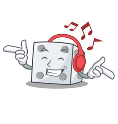 Listening music dice character cartoon style vector