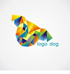 logo dog consist of colorful triangles vector image