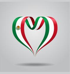 Mexican flag heart-shaped ribbon vector