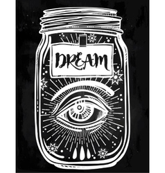 Mystery art of a wish jar with mystic eye vector