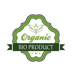 Organic bio product emblem or label vector