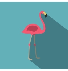 Pink flamingo icon flat style vector image
