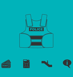 Police flak jacket or bulletproof vest icon flat vector