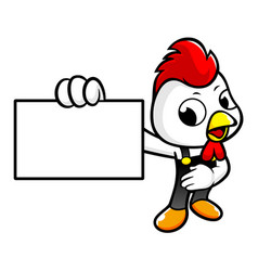 Rooster character holding a business card vector