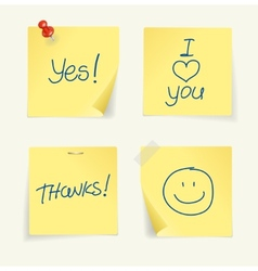 set of yellow sticky Notes and text vector image