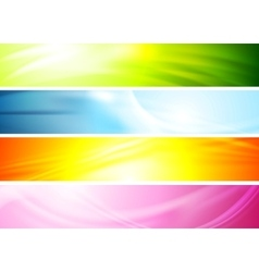 Smooth wavy abstract colorful banners vector image vector image