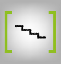 Stair down sign black scribble icon in vector