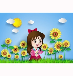 Sun flower with girl vector