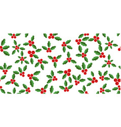 White background with hollyberries vector