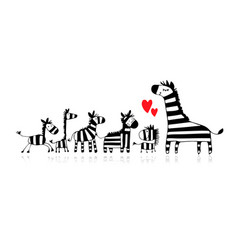 zebra family mother and children sketch for your vector image vector image