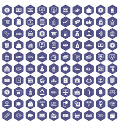100 payment icons hexagon purple vector image vector image