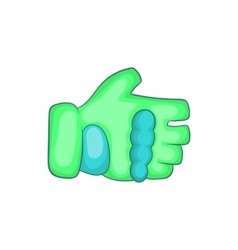 Green paintball glove icon cartoon style vector