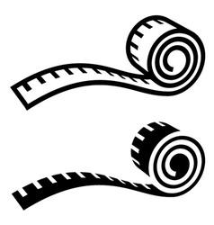 fitness measuring tape black symbol vector image