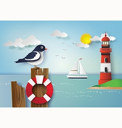 Seagull standing on a wooden vector image