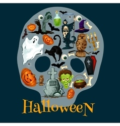 Halloween holiday flat icons in shape of skull vector