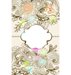 Floral card with label vector