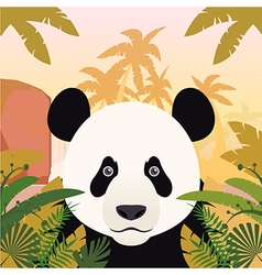 Panda on the jungle background vector