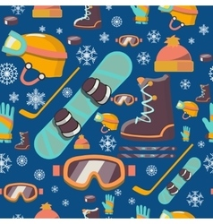 Winter sports seamless pattern icons vector