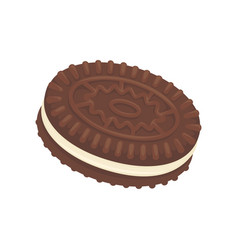 Sandwich chocoate biscuit filled with vannila vector