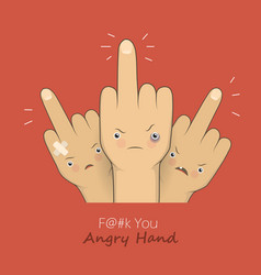 middle fingers with angry faces vector image