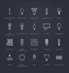 Light bulbs flat line icons led lamps types vector