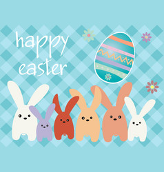 Easter bunnys with a easter egg vector