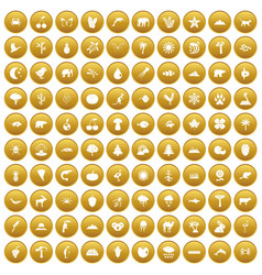 100 nature icons set gold vector