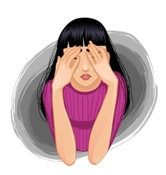 Sad crying woman closing her face with her hands vector