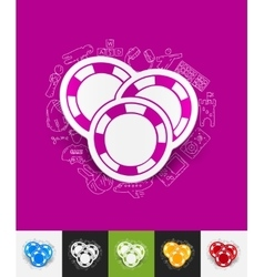 Casino chips paper sticker with hand drawn vector