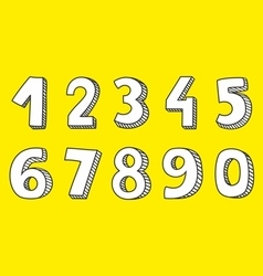 White numbers isolated on yellow background vector