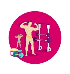 Bodybuilding sport concept icon flat design vector