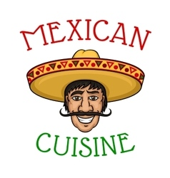 National mexican cuisine chef in sombrero vector