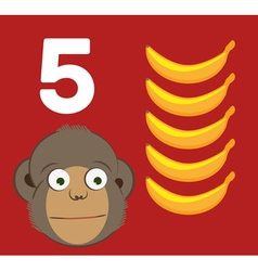 Number 5 - monkey with five bananas vector