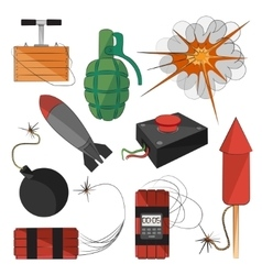 Set of bombs explosives vector