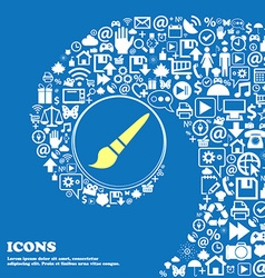 Brush icon nice set of beautiful icons twisted vector