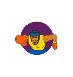 amateur boxer punching circle drawing vector image