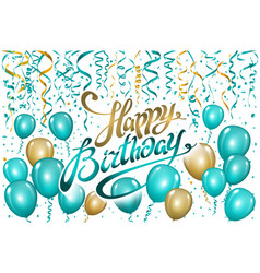 balloons happy birthday on black gold blue vector image