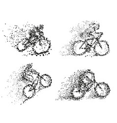 bicycliston bike particle divergent silhouette vector image