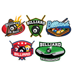 billiard badge design set vector image vector image