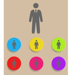 businessman black web icon with color variations vector image vector image